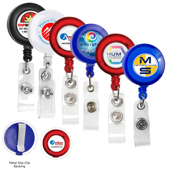 "30""? Cord Round Retractable Badge Reel and Badge Holder with Metal Slip Clip Backing"