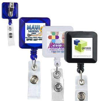 "30""? Cord Square Retractable Badge Reel and Badge Holder with Metal Rotating Alligator Clip Backing"