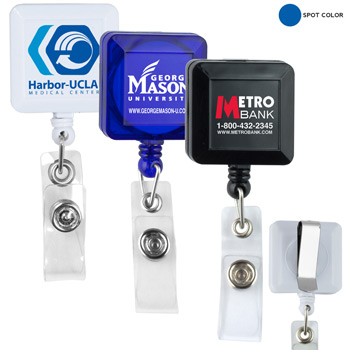 "30"" Cord Square Retractable Badge Reel and Badge Holder with Metal Slip Clip Backing (Spot Color Print)"