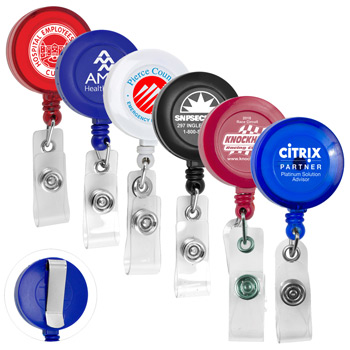 "30"" Cord Round Retractable Badge Reel and Badge Holder with Metal Slip Clip Backing (Spot Color Print)"