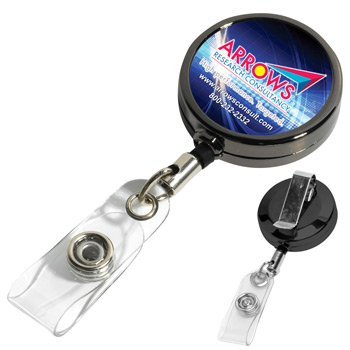 "30"" Cord Gunmetal Colored Solid Metal Retractable Badge Reel and Badge Holder with Full Color Vinyl Label Imprint"