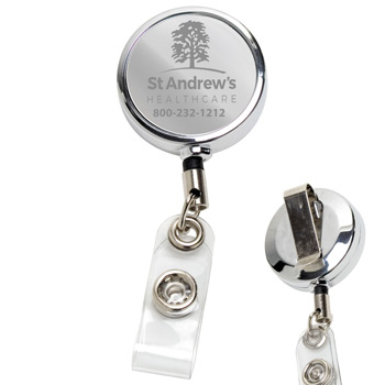 "30""? Cord Chrome Solid Metal Retractable Badge Reel and Badge Holder with Laser Imprint Only (Laser Engraved)"