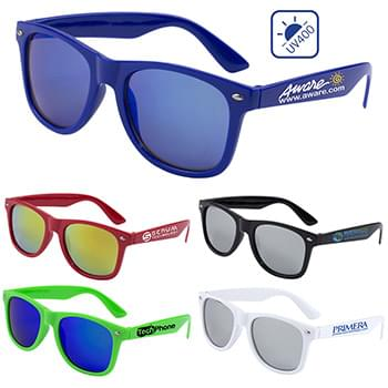 """Clairemont"" Colored Mirror Tint Lens Sunglasses with High Gloss Frame"