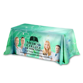 6' 3-Sided Throw Style Table Covers Full Color Dye Sublimation Imprint - Fits 6 Foot Table