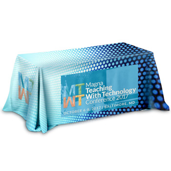 8' 3-Sided Throw Style Table Covers Full Color Dye Sublimation Imprint - Fits 8 Foot Table