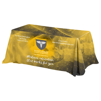 8' 4-Sided Throw Style Table Covers & Table Throws Full Color Dye Sublimation Imprint - Fits 8' Foot Table