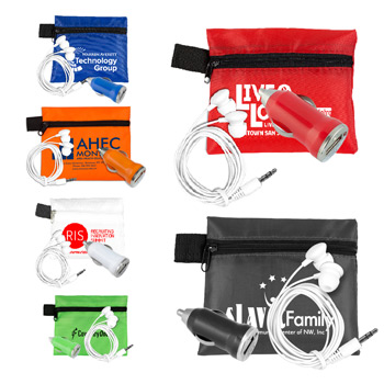Mobile Tech Car Accessory Kit Components inserted into Polyester Zipper Pouch