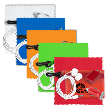 Mobile Tech Auto and Home Accessory Kit in Translucent Carabiner Zipper Pouch Components inserted into Polyester Zipper