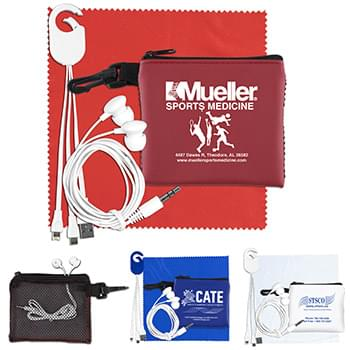 """TechMesh Hang Tunes"" Mobile Tech Charging Kit with Earbuds and Charging Cable in Mesh Zipper Pouch Components inserted"