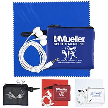 """TechMesh Tunes"" Mobile Tech Earbud Kit in Mesh Zipper Pouch Components inserted into Zipper Pouch"