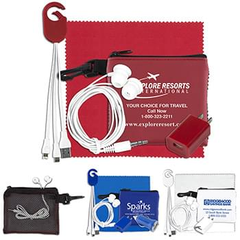 """TechMesh Clip"" Mobile Tech Accessory Kit in Mesh Zipper Pouch Components inserted into Zipper Pouch"